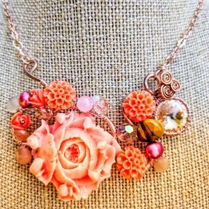 Handmade Coral Pink  floral necklace